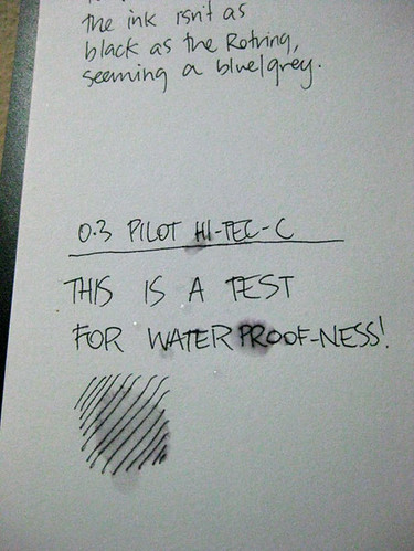 Pilot Hi-Tec-C waterproof-ness