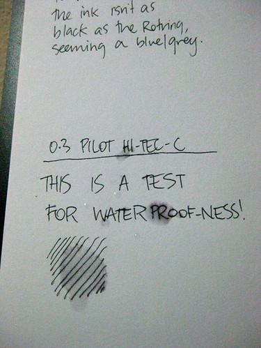 Pilot Hi-Tec-C waterproof-ness
