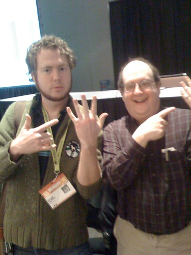 jared spool and i pointing to our ring fingers