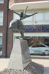 David Wynne - Boy on a Dolphin, front left, Cheyne Walk, Chelsea Embankment, London (ketrin1407) Tags: boy sculpture male london statue thames bronze youth nude energy chelsea dynamic dolphin vigour chelseaembankment davidwynne