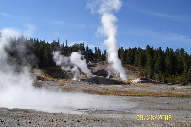 Geysers in West Yellowstone - The wind was blowing that day so every so often you would feel the water on your face and the smell of sulfer from the geysers.