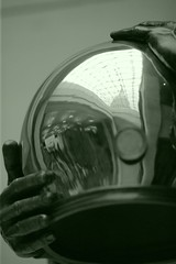 John L. Swigert's Space Helmet (jomak14) Tags: bw sculpture reflection monochrome canon blackwhite eos1ds washingtondctrip greentone spacehelmet canonef135mmf2lusm ef135mmf2l march2009 capitolvisitorcenter emancipationhall johnlswigert