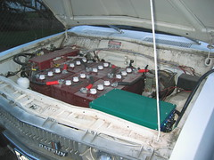 "Plugging In The ""White Ghost"" Datsun EV (mellotrongirl) Tags: electric ev vehicle 1978 datsun 620 kingcab strubhar bulletside gremco"