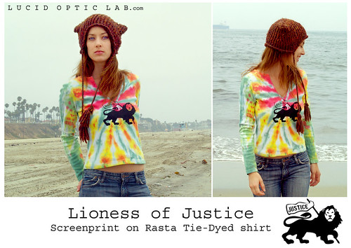 Lioness of Justice screenprint on RASTA Tie-Dyed shirt