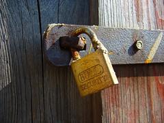 P1090218 (lili modrooka) Tags: door wood brown detail metal rust lock security rez makro zmek devo kov dvee bullsecurity