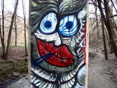 The man living under the bridge (Loozrboy) Tags: bridge toronto face concrete graffiti railway ravine summerhill