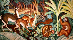 Jungle (cliff1066) Tags: animal forest painting landscape monkey paint deer canvas fabric jungle oil tropic 1934 mays newdeal saam kirtland paulmays publicworksofart paulkirtlandmays newdealforartists picturingthe1930s