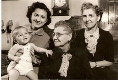1952, October. Women's four generations (elinor04 thanks for 22,000,000+ views!) Tags: family clock home fashion kids vintage photo women hungary child grandmother furniture antique interior budapest mother style stats 1950s generations hairstyle greatgrandmother 1952 800000views ancestress oct2012 vintagefamilyphotocollection elinorsvintagefamilyphotocollection hungariancollection