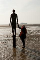 Jane met her new man at Crosby Beach (Zelda Blackadder) Tags: sculpture liverpool crosby antonygormley merseyside crosbybeach
