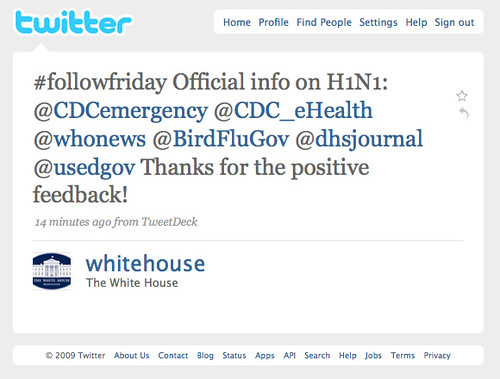 white house on twitter / #followfriday - H1N1