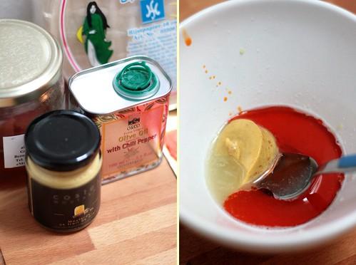 Sauce moutarde & huile pimentée