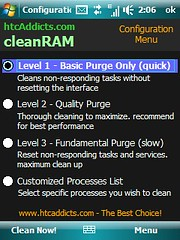 CleanRAM- Configuration Menu