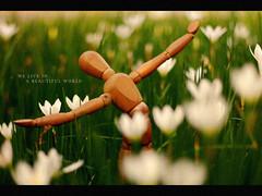 We Live in A Beautiful World (khaniv13) Tags: park wood flowers white green mannequin indonesia nikon dof coldplay bokeh jakarta figure manualfocus dontpanic af50mmf14d d40x tamanmenteng weliveinabeautifulworld khaniv13
