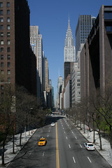 42nd Street ([DEADCITIES]) Tags: from road street morning bridge blue sky usa newyork building eye art architecture america skyscraper canon buildings wow point see cool long quiet walk manhattan steel central stripe taken can spooky clear frame photowalk april artdeco favourite distance deco vanishing far 2009 depth 42nd crysler cryslerbuilding canoneos400d deadcitiesnet