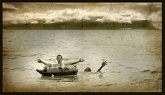 2 Men, 1 Floatie, Help! (Hueystar) Tags: ocean sea fiji float lpfloating