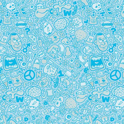 Blue Doodle Fabric Design