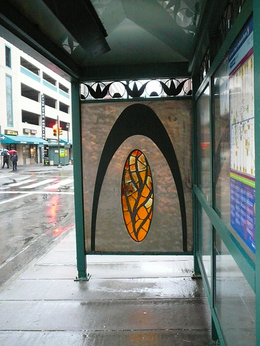 Stained glass bus stop in Philadelphia