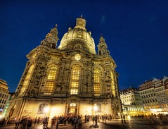 A Night Out in Germany (Stuck in Customs) Tags: lighting old city travel blue windows light sky people sunlight building clock church stone architecture night work buildings germany out religious lights dresden high amazing twilight ancient europe moments shot angle image god shots religion crowd picture arches collection cobblestone german dome processing historical dreamy portfolio foreign capture magical frauenkirche trey outstanding treatment cobblestoned stuckincustoms
