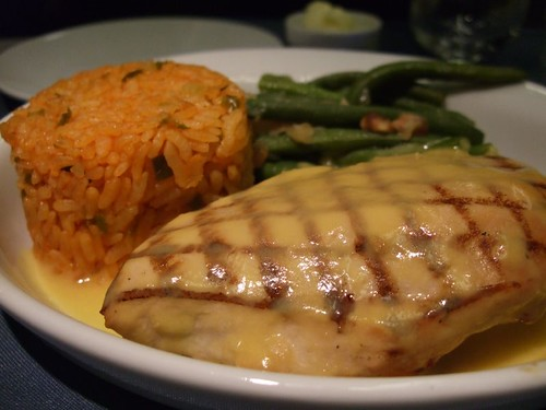 Key Lime and Honey Chicken Breast with Mango Lime Sauce, Jambalaya Rice, and Green Beans with Macadamia Nuts
