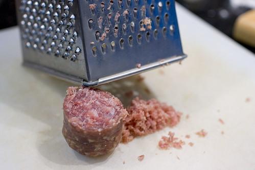 grating dry sausage