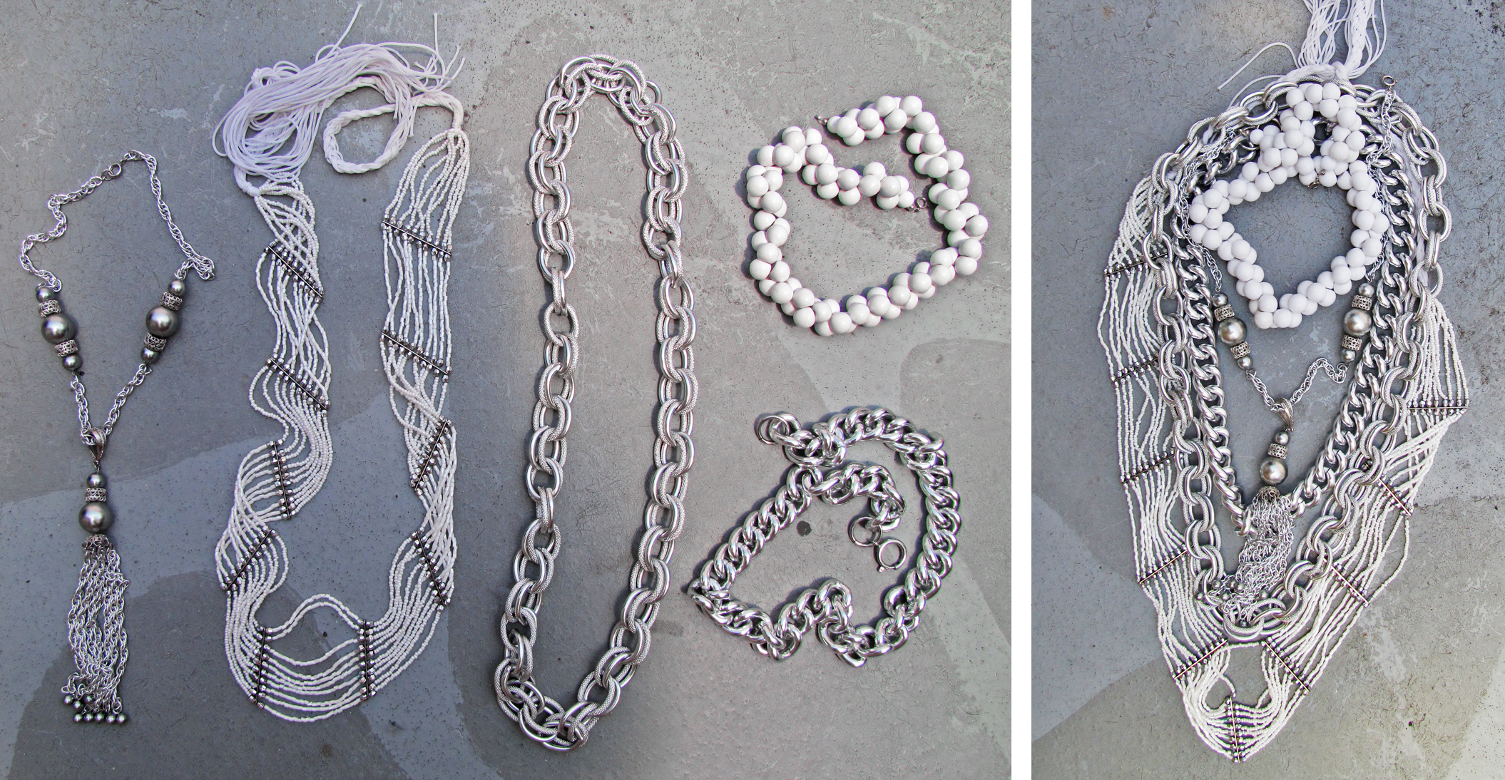 silver-white-layered-chain-necklaces