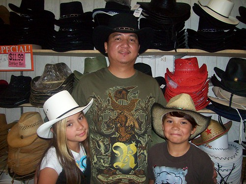 Me and my kids wearing cowboy hat