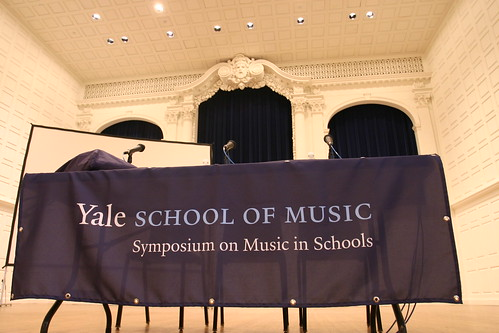 The stage is set in Sprague Hall for Symposium panel discussions