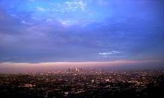 City Of Angels (_edwin_) Tags: california city pink blue sky urban clouds losangeles downtown horizon cielo nubes tropical southerncalifornia griffithpark 2009 monsoonseason monsoonalseason