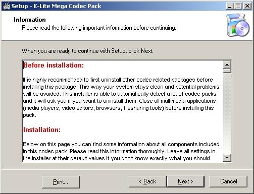 Instalando K-lite Mega Codec Pack - Tela 2