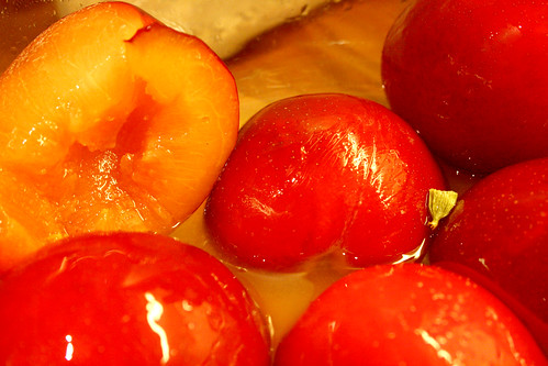 Plums marinate