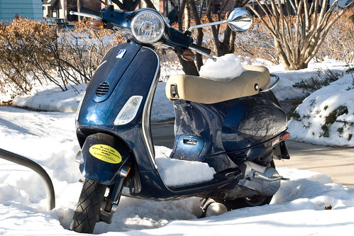 motor scooter stuck in snow