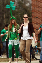 The silly and the serious (quinn.anya) Tags: party silly green college students girl beads serious professional uiuc shamrock 2009 leggings balloonhat uofi unofficialstpatricksday