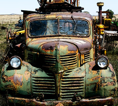 dodge drill rig 1(Uncle Randy?) (Outrageous Images) Tags: old green abandoned yellow truck rust colorado photoshopped highcontrast grill highsaturation dodge cropped mack westernslope explored exploreflickr robertsfarm outrageousimages davewadsworth westernslopeantiquepower edgesharpened photograined antiquepowerfarmequipmentshow exploreinterestingness32409 newlibertycolorado