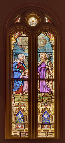 Immaculate Conception (Saint Mary's) Roman Catholic Church, in Brussels, Calhoun County, Illinois, USA - stained glass window of the Holy Family