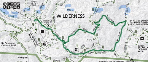 Sunol hike route
