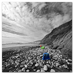 Found Art - RGB 2. Monochrome coastline with added colour (s0ulsurfing) Tags: wild sky blackandwhite bw panorama cliff cloud white seascape black beach nature rock clouds composition contrast trash photoshop cutout square landscape island grey mono bay coast march interesting sand scenery rocks skies natural compton wide perspective shoreline fluffy wideangle monotone ps cliffs explore coastal filter crap shore pollution windswept isleofwight rubbish vista coastline foundart grad rgb landschaft ultrawide isle 2009 diffused squared rugged wight altocumulus selectivecolour 10mm postprocessing comptonbay sigma1020 mackrelsky nd4 s0ulsurfing vertorama altocumulusstratiformisradiatus