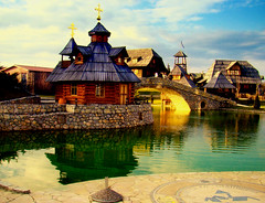 Ethno village (ceca67) Tags: light lake church village bosnia bijeljina theunforgettablepictures theunforgettablepicture passionateinspirations