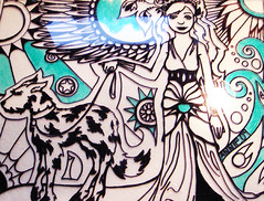 16-touches-of-turquoise (Annie Stuart) Tags: dog art lady illustration ink blog artist drawing creative hound line creation doodle sharpie blend spontaneous moontree improvise artday moontreestudios wwwmoontreestudioscom projectartday