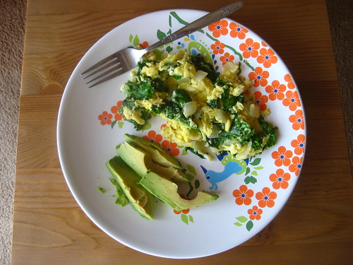eggs kale onion avocado.