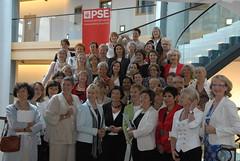 Margot tillsammans med alla vi kvinnor i socialistgruppen i Europaparlamentet