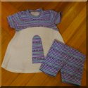 Retro Purple Stripe Swing Top & Shorts Child Sizes 4 or 5/6