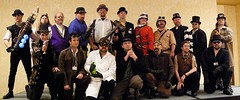 Men's Group Shot, Steampunk Fashion Show, Norwescon 32 (djwudi) Tags: autostitch usa hotel washington costume spring nikon day afternoon d70s hilton panoramic convention photomerge costuming seatac tamron doubletree steampunk norwescon tamron2875f28 steampunkfashionshow norwescon32 doubletreeseattleairport upcoming:event=465463