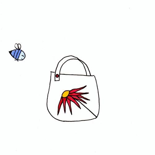 red flower purse