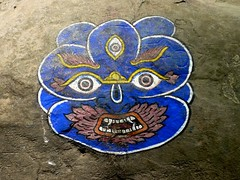 Swayambhunath, Katmandu, Nepal (balavenise) Tags: blue nepal shrine god buddha prayer religion buddhism demon katmandu swayambhunath prire devnagari  flickrgiants