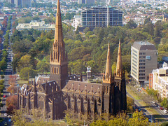 St Stephen's Cathedral (rileyo) Tags: road street trees church buildings view melbourne aerial ststephenscathedral lonsdalest project365 casseldenplace