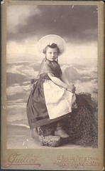 Young girl in folk dress from Boulogne-sur-Mer, France