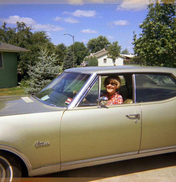 1970 Laurie Ekwall - Summer 12 - Laurie Irene Ekwall in the Oldsmobile Cutlass