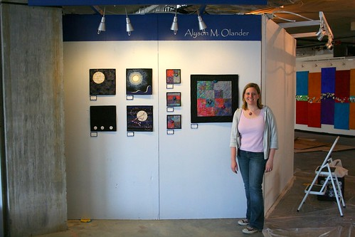Alyson in front of her wall at Artomatic 2009