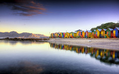 Bathing huts! (Jo-Ann Stokes) Tags: sea mountains reflections paint colours vibrant stjames primarycolours abigfave changinghuts theunforgettablepictures