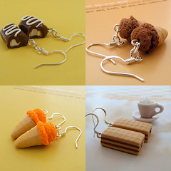 Yummy Earrings (Shay Aaron) Tags: food ice coffee cake miniature whimsy handmade chocolate cream fake mini jewelry polymerclay clay apricot wafer bonbon waffle geekery           foodjewelry  shayaaron
